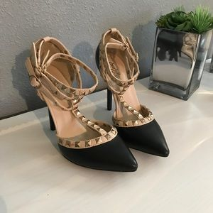 Charlotte Russe Black and Nude Stiletto Heels